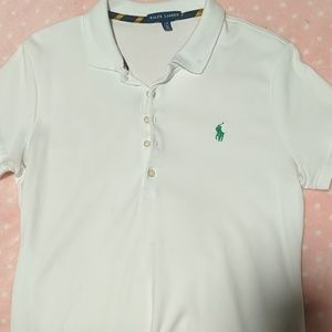 Ralph Lauren White Polo with green pony